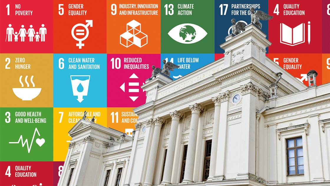 Universitetshuset och Agenda 2030-målen. Illustration.