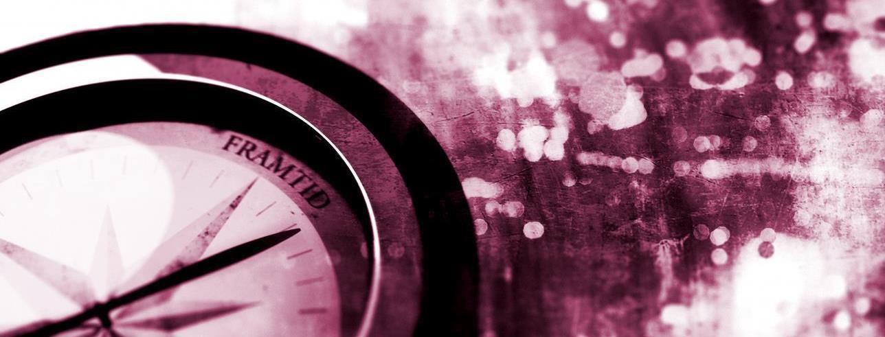 En rosa bild som visar en kompass och symboliserar Lunds universitets Framtidsvecka