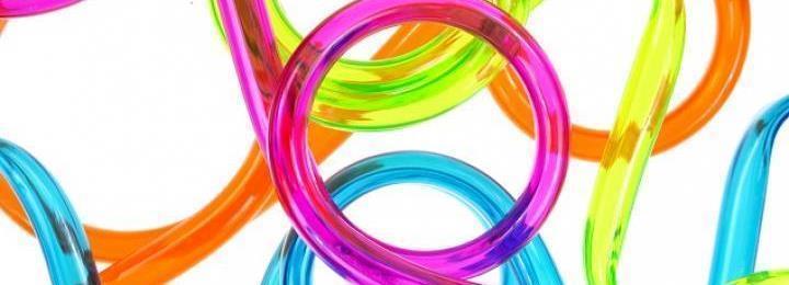 Färglada plastdetaljer. Illustration.