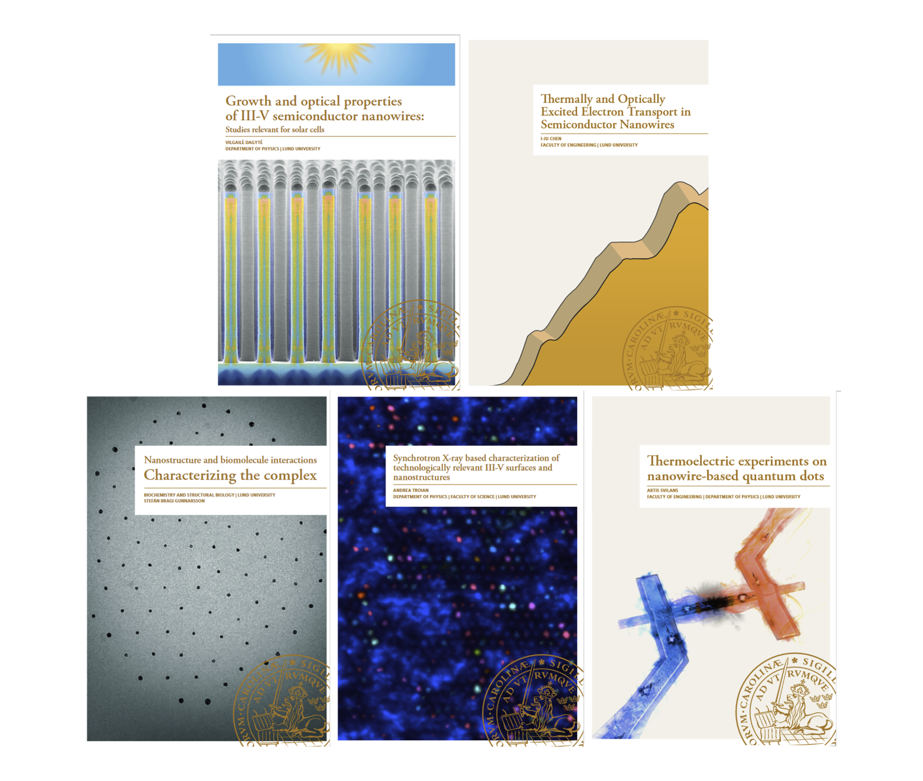 Covers of five of the twelve dissertations