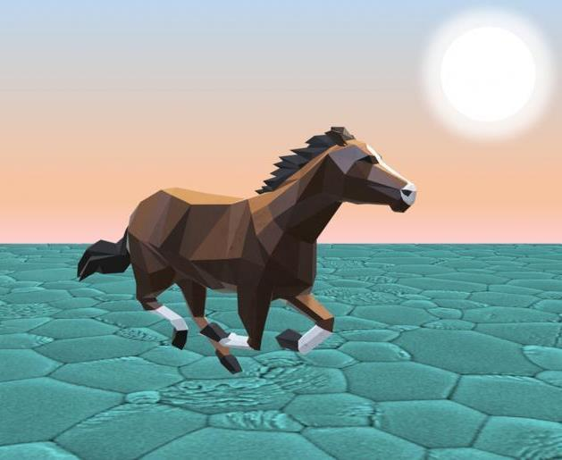 Illustration of a horse running in the sunset.