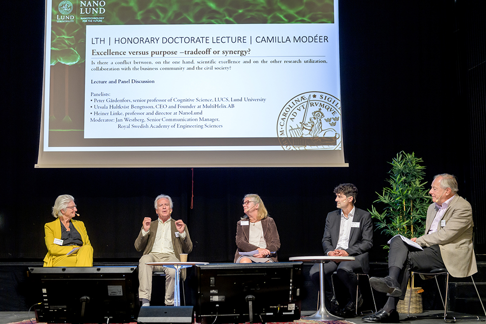 Photo of Camilla Modéer and panelists at the Annual Meeting.