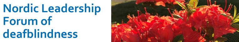Titeln Nordic Learship Forum of Deafblindness och blommor