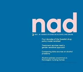 Omslaget av Nordic Studies on Alcohol and Drugs med texten NAD på